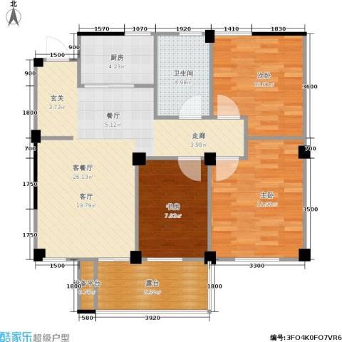 九洲芳园3室1厅1卫1厨89.00㎡户型图