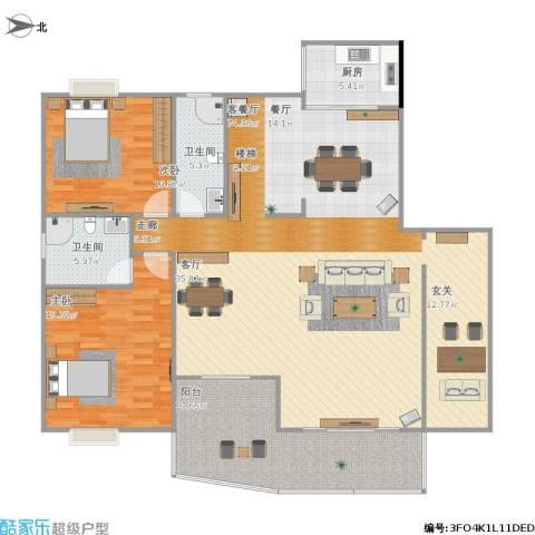 绵登・新世界花园2室1厅2卫1厨186.00㎡户型图