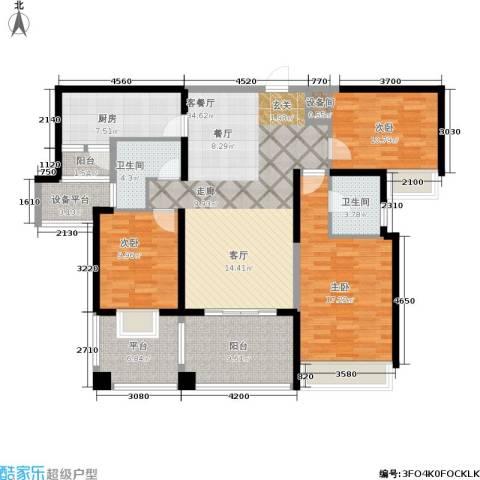 万象城悦府3室1厅2卫1厨140.00㎡户型图