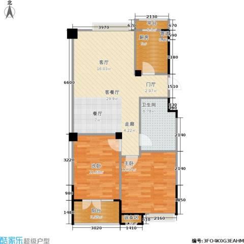 现代家园2室1厅1卫1厨94.00㎡户型图
