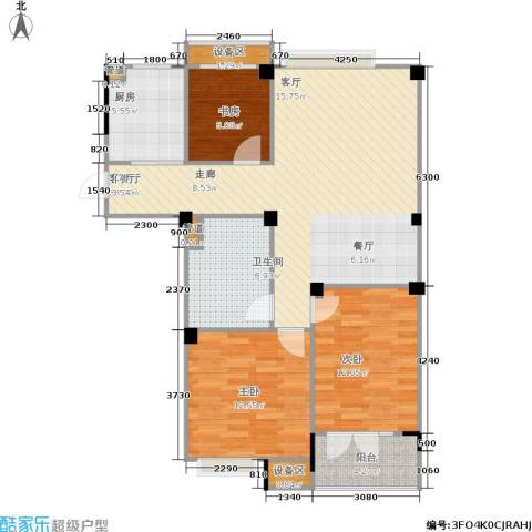 现代家园3室1厅1卫1厨103.00㎡户型图