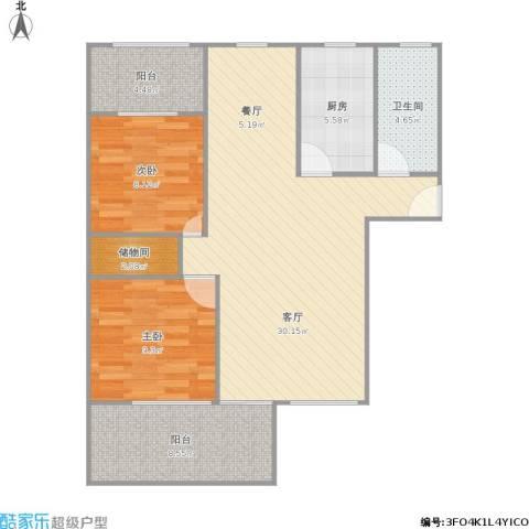 梧桐城邦二期2室1厅1卫1厨98.00㎡户型图