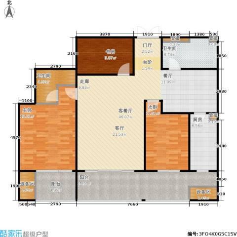 凤起都市花园3室1厅2卫1厨141.00㎡户型图