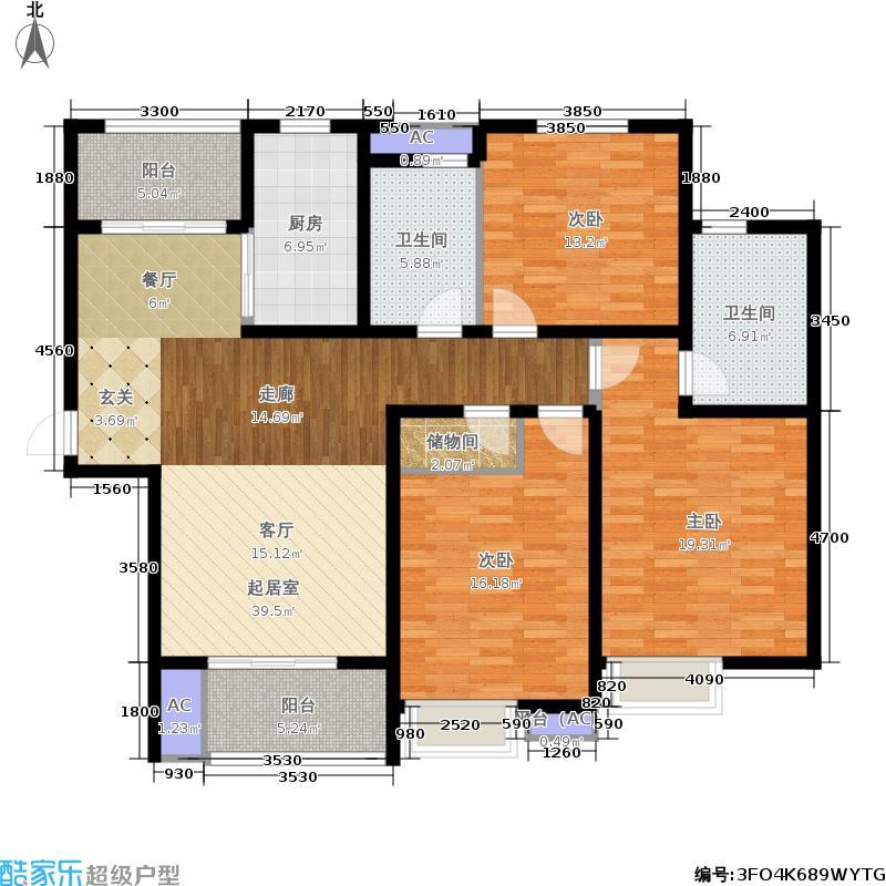 鼎秀园140.96㎡3房 3室2厅2卫(在售)户型3室2厅2卫