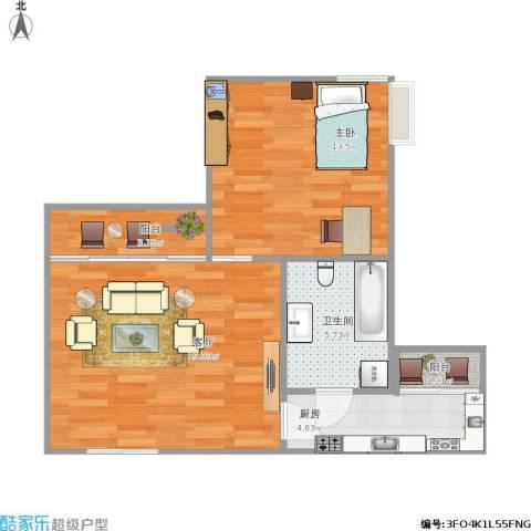 蓝堡公寓1室1厅1卫1厨64.00㎡户型图