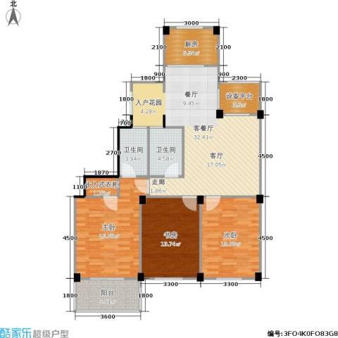 九洲芳园3室1厅2卫1厨129.00㎡户型图