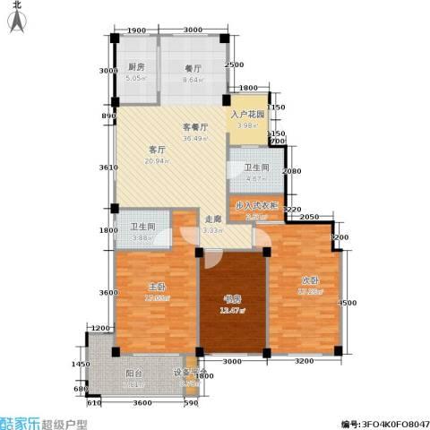九洲芳园3室1厅2卫1厨134.00㎡户型图