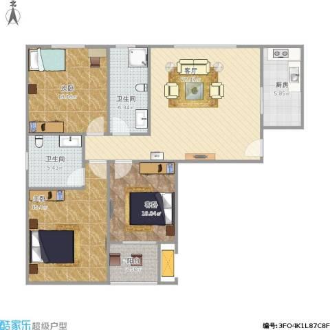 晋源区安置小区3室1厅2卫1厨117.00㎡户型图