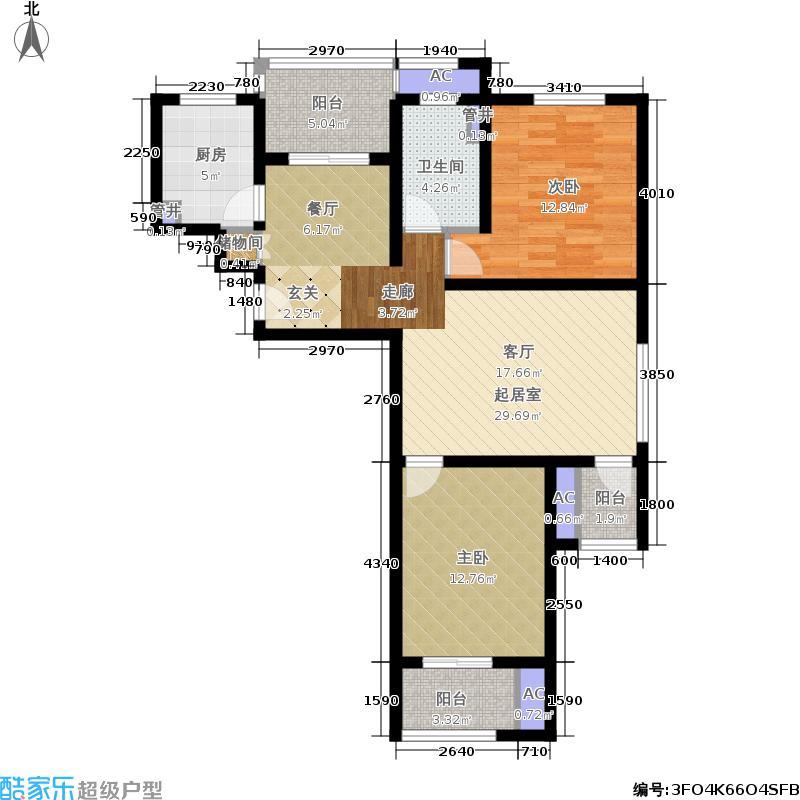 鼎秀园91.45㎡B户型图2室2厅1卫户型2室2厅1卫