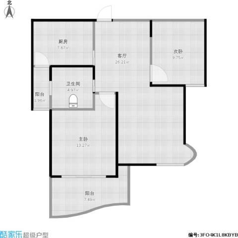 苏堤春晓名苑2室1厅1卫1厨96.00㎡户型图
