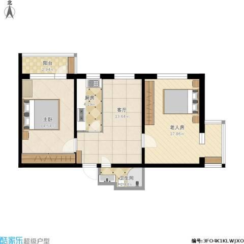 车道沟南里2室1厅1卫1厨80.00㎡户型图