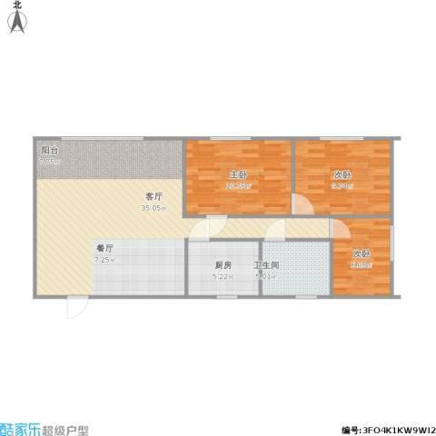 明珠广场3室1厅1卫1厨96.00㎡户型图