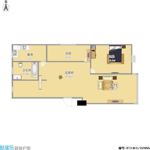 锦隆四村2室1厅1卫1厨116.00㎡户型图