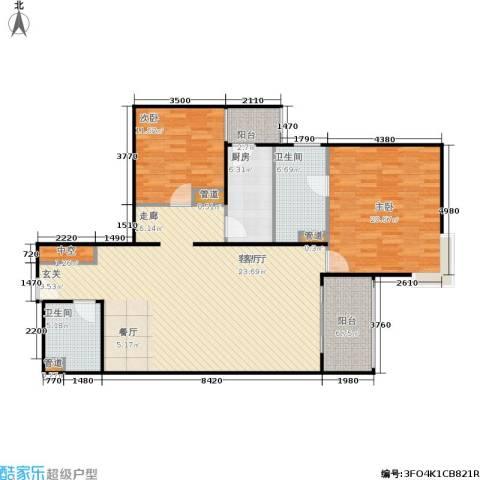 北苑家园莲葩园2室1厅2卫1厨119.00㎡户型图