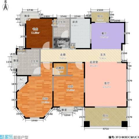 世嘉国际华城二期3室0厅2卫1厨169.00㎡户型图