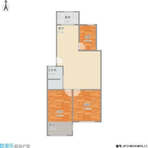 凤凰花园城3室1厅1卫1厨89.00㎡户型图