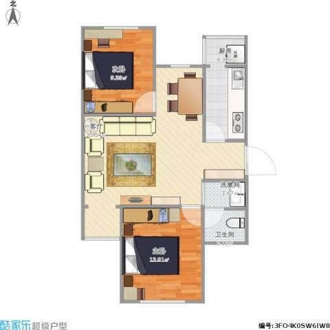 兴盛街187号院2室1厅1卫1厨78.00㎡户型图