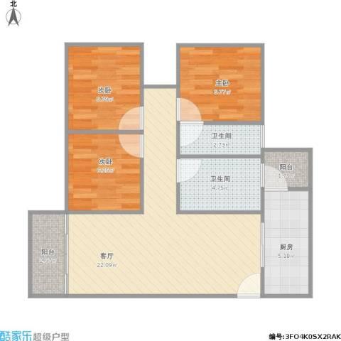 香晖园3室1厅2卫1厨82.00㎡户型图