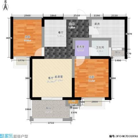 君河湾2室0厅1卫1厨93.00㎡户型图