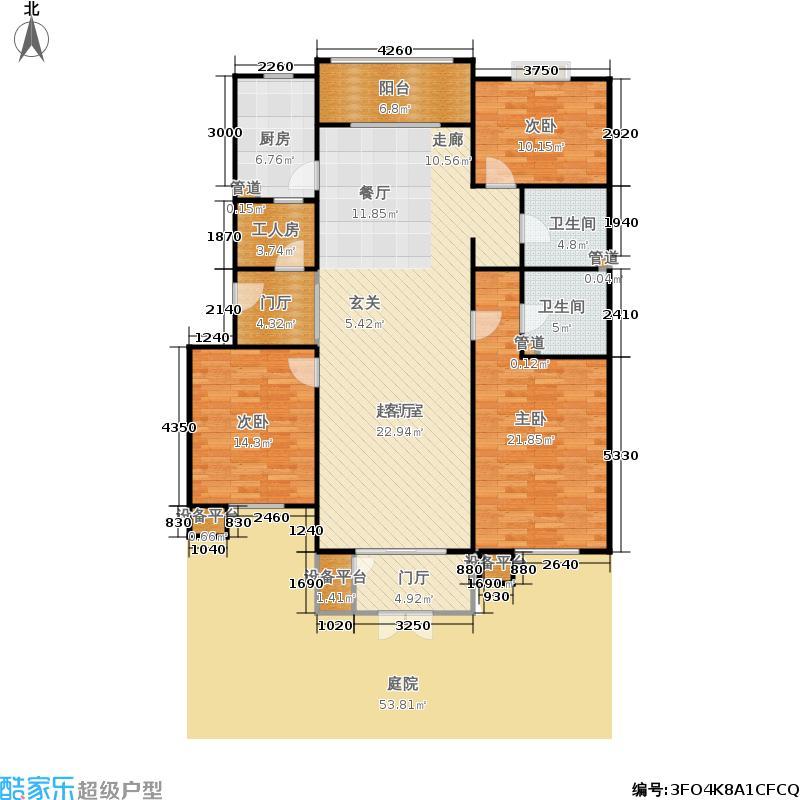 当代城市家园147.07㎡3室2厅2卫1厨户型