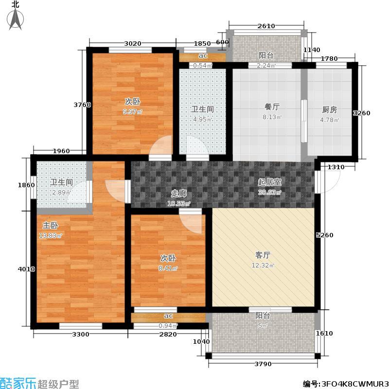 天宝福地106.97㎡b户型图户型3室2厅2卫
