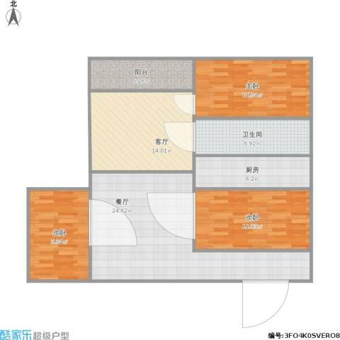 潜龙花园北区3室2厅1卫1厨121.00㎡户型图