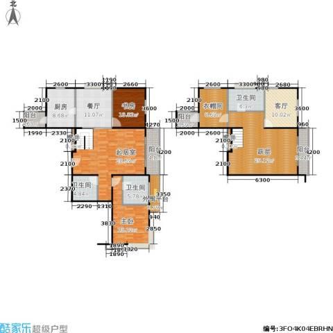 加州水郡一期2室2厅3卫1厨207.00㎡户型图