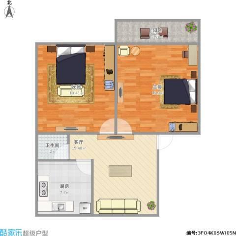 华阳路浪潮宿舍2室1厅1卫1厨91.00㎡户型图