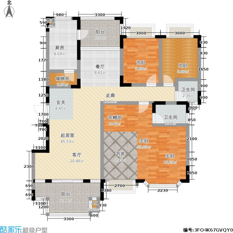 麓山翰林苑159.00㎡A5户型4室2厅2卫户型4室2厅2卫