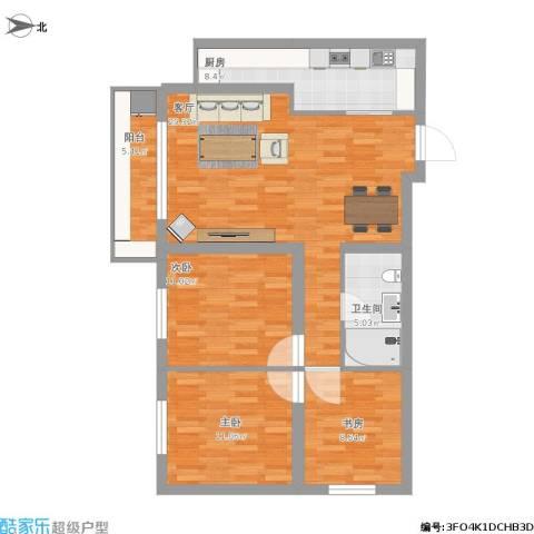 小屯路甲2号3室1厅1卫1厨114.00㎡户型图