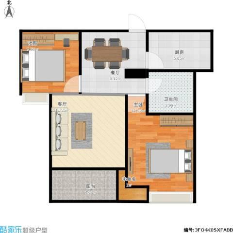 清河路202弄小区2室2厅1卫1厨74.00㎡户型图