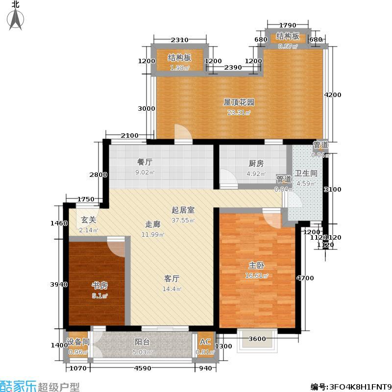 顶秀青溪113.06㎡B户型顶层二室二厅一卫户型
