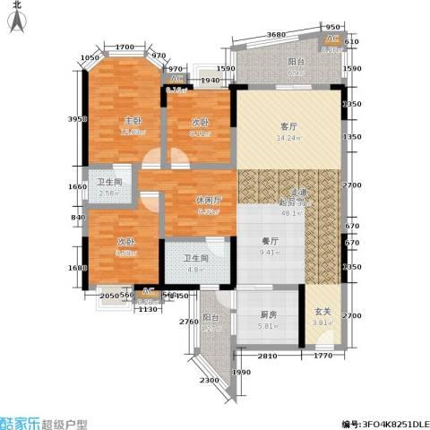 金洲星韵苑3室0厅2卫1厨124.00㎡户型图