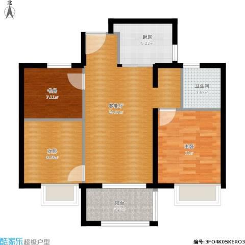 万科草庄西岸3室1厅1卫1厨92.00㎡户型图