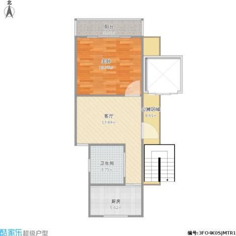 绿色丽园1室1厅1卫1厨69.00㎡户型图