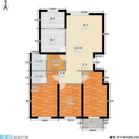 彼岸城3室1厅2卫1厨133.00㎡户型图