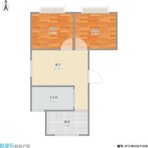 绿色丽园2室1厅1卫1厨64.00㎡户型图