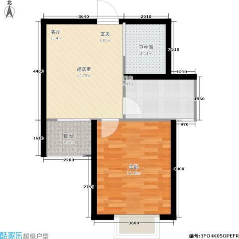 天赋庄园1室0厅1卫1厨48.00㎡户型图