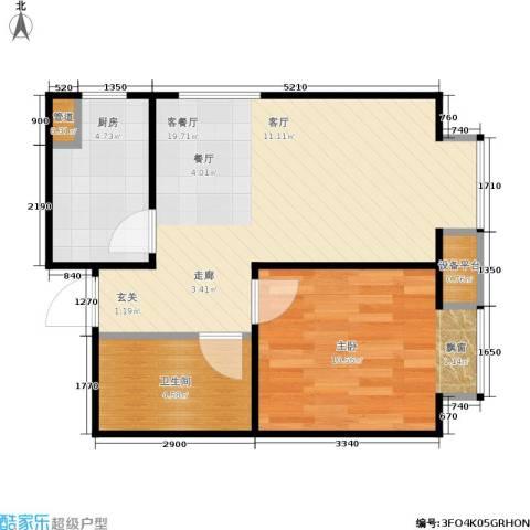 康城·瑞河兰乔1室1厅1卫1厨51.00㎡户型图