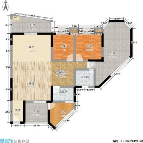 金洲星韵苑2室0厅2卫0厨124.00㎡户型图