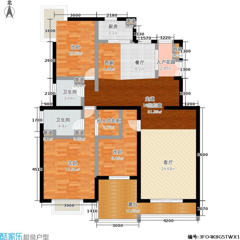 顶秀青溪135.74㎡6.5FC户型三室二厅二卫户型