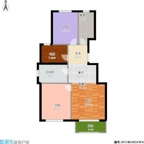 首开香溪郡3室1厅1卫1厨119.00㎡户型图