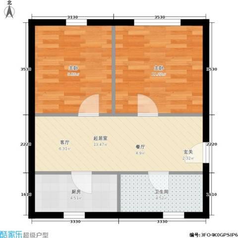 仙林苑2室0厅1卫1厨49.00㎡户型图