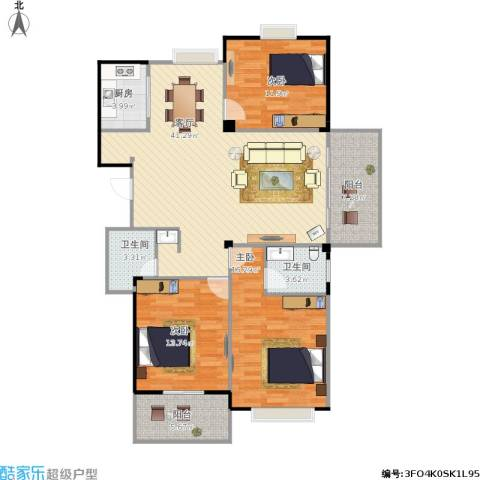 东城国际二期3室1厅2卫1厨142.00㎡户型图