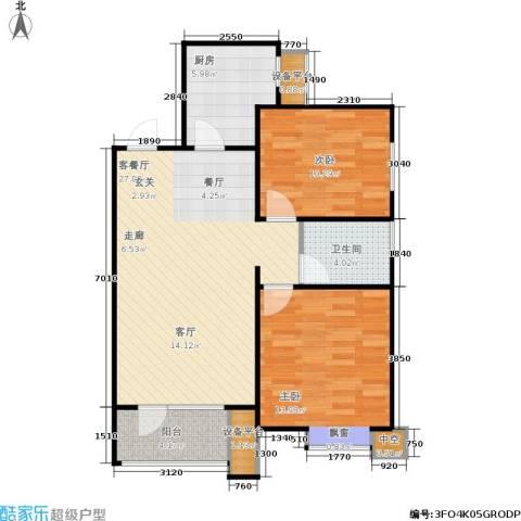 康城·瑞河兰乔2室1厅1卫1厨91.00㎡户型图