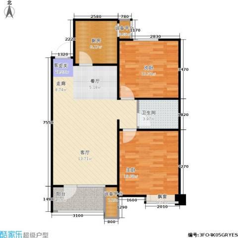 康城·瑞河兰乔2室1厅1卫1厨92.00㎡户型图