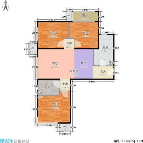 金融街·融汇3室0厅1卫1厨106.00㎡户型图