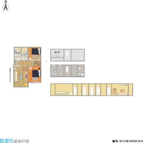 朝阳北部湾2室1厅2卫2厨201.00㎡户型图