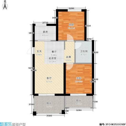 天赋庄园2室0厅1卫1厨73.00㎡户型图