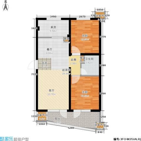 山海同湾2室0厅1卫1厨96.00㎡户型图